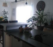 Bar fait maison avec réserve à bouteilles, chaise de bar dans une solderie de restaurateur, rampes de suspension faites maison de A à Z