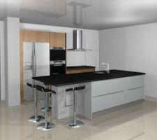 Visuel cuisine effet bois et blanc