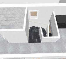 vue combles escalier couloir et placard