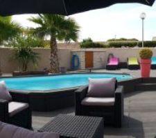 coin terrasse et piscine
