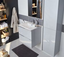 Meuble + vasque + miroir OHLA gris - Castorama