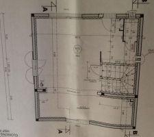 photo du plan du rez de chaussee le sud se trouve cote porte vitree