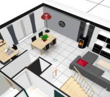 Vue 3D du salon/séjour