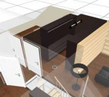 Vue 3D de notre dressing/bibliothèque