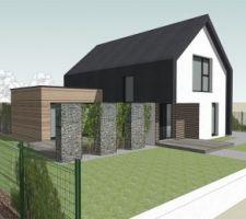 3D de la construction avec aménagement extérieure
