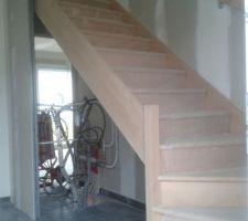 Voila, l'escalier en hêtre a été posé ! il est magnifique !
