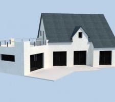 Façade sud : de G à D 2 portes fenêtres séjour puis cuisine et suite parentale sous comble le bureau donne sur la terrasse supérieure