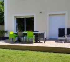 Terrasse terminée - Carrelage imitation parquet