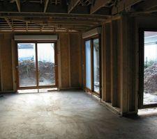 Baies vitrées et porte fenêtre vues de l'intérieur.