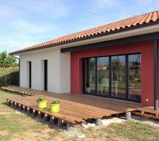 Terrasse en IPE en cours de construction