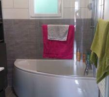 baignoire asymetrique avec faience imitation bois gris et bois beige