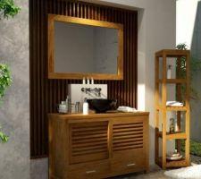 meuble vasque salle d eau parentale teck vernis largeur 110 cm