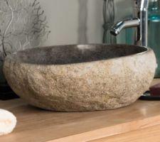 vasque lave mains wc en galet de riviere