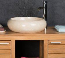 vasques sdb x2 en marbre creme