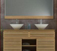 meuble double vasque sdb teck vernis largeur 140 cm