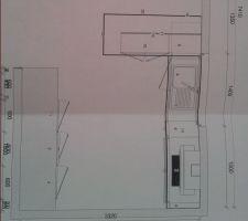 plan de notre future cuisine ouverte cuisinella