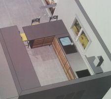 Vue 3D notre future cuisine ouverte (Cuisinella)