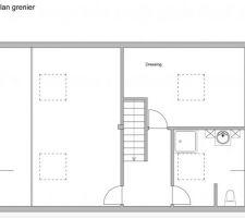 Plan du deuxième étage. J'ai inversé la partie dressing et la SDB