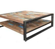 Idée déco : table basse style industriel métal et teck recyclé.