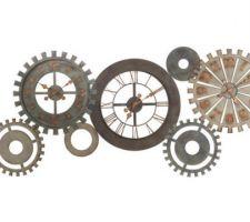 Idée déco : grande horloge métal engrenages style industriel 160 cm.