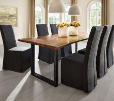 idee deco autre table industrielle en balance avec la premiere en bois de suar massif en un morceau epais poids 115 kg et pieds et metal taille 300 x 110 cm