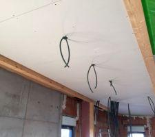 Mise en place des placos du plafond avec poutres apparentes