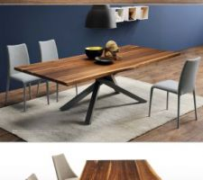 Idée déco gros coup de coeur : table 250 x 106 cm avec plateau en noyer massif et pieds en acier graphite. Marque Midj, modèle Pechino.