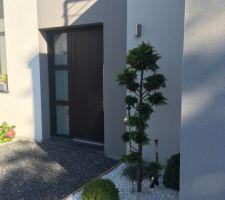 Facade avant , aménagée avec plantes et galets de marbre blanc pour