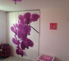 """Panneau japonais Ikéa """"EMELINA"""", motif Orchidées"""