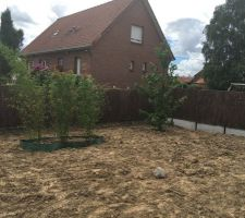 Terrain clôturé, avec brande de bruyère et plantation de 3 bambous + 1 Liquidambar de 4 m. On a également prévu la dalle de 12 m² pour le futur abri de jardin