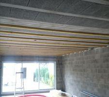 mise en place de chevrons 63x44 de 5m10 sur le plafond hourdis du rdc pour recevoir les suspentes