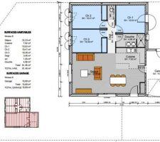 plan de la maison implantee sur le terrain