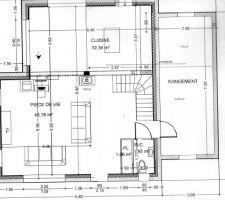 la porte d entree est en bas a cote du pl la partie note rangement sera separe pour faire d un cote un cellier et de l autre un atelier