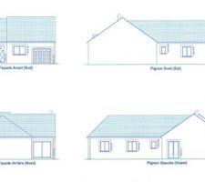 voici un plan en 2d de la maison vues exterieurs de chaque cotes