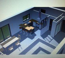 voici un plan 3d de la parti interieur cote entree salon cuisine