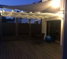 Éclairage de la terrasse et de la pergola/ voile d'ombrage