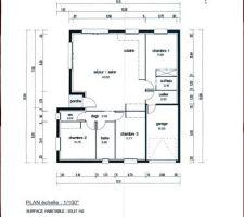 notre plan en plain pied avec nos 3 chambres et une mini suite parentale