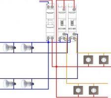 Montage de deux télérupteurs unipolaires sur un même disjoncteur.