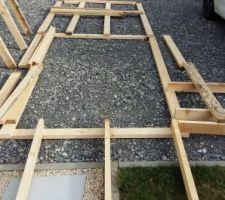 Réalisation des coupes pour l'abri de jardin en ossature bois