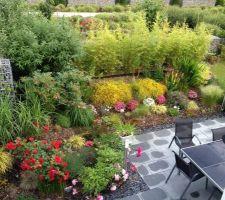 notre jardin vu du ciel ou plutot de la fenetre de l etage et voila notre jungle en pleine floraison en 2 ans cela a pris du volume et beaucoup evolue