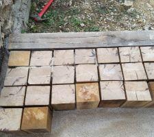 Pavage en cube de chêne 10x12 21cm pose debout sur lit de sable fin