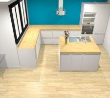 Voici une idée de notre prochaine cuisine, 3.92x2.75m avec îlot central (évier et lave vaisselle)