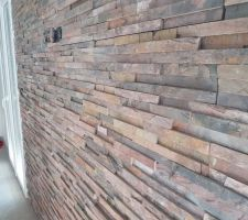 Fin mur parement pierres (gros plan profil)