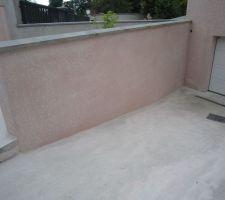 enduit mur gauche de retenue des terres descente garage