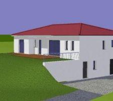 Vue de la maison sur plan face sud