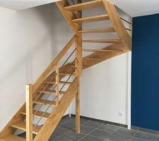 escalier teinte et vitrifie