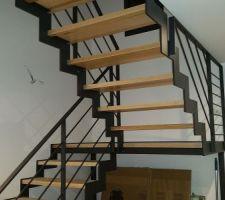 Escalier bois métal avec palier intermédiaire