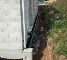 Évacuation des eaux pluviales - Vu arrière de la maison