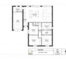 Première ébauche du plan de la maison faite par nos soins