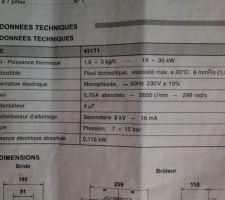 Bruleur Riello 40G3 Millenium - données techniques